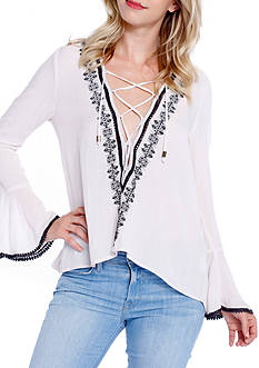 Taylor & Sage Bell Sleeve Lace Up Peasant Blouse