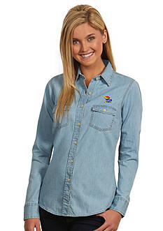 Antigua Kansas Jayhawks Long Sleeve Chambray Shirt
