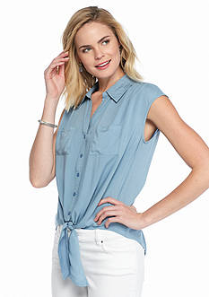 Melissa Paige Chambray Tie Front Top