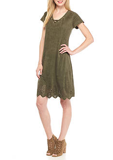 Melissa Paige Faux Suede Lace Up Dress