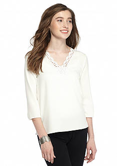 Everly Lace Inset V-Neck Top