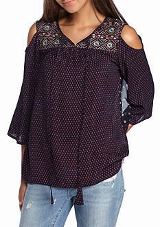 Esley Embroidered Cold Shoulder Blouse