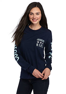 Red Camel Long Sleeve Country Girl Pocket Tee
