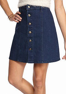 Suede Jean Button Front Skirt