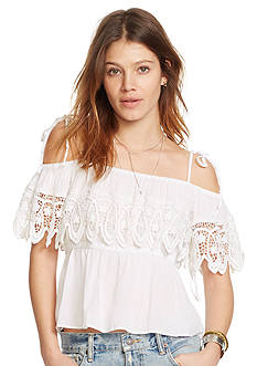 Denim & Supply Ralph Lauren Flounce Cold Shoulder Blouse