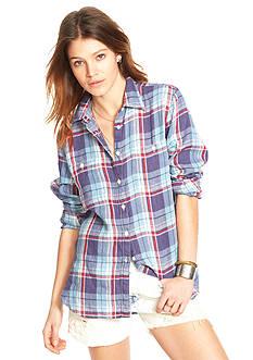 Denim & Supply Ralph Lauren Plaid Button Front Blouse