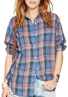 Denim & Supply Ralph Lauren Plaid Cotton Boyfriend Shirt