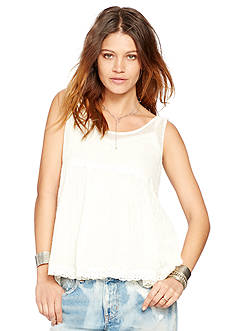 Denim & Supply Ralph Lauren Phoebe Lace Trim Gauze Tank