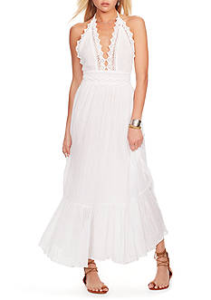 Denim & Supply Ralph Lauren Lace-Trim Gauze Halter Dress
