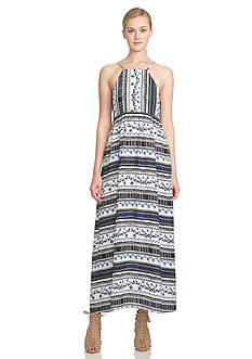 CeCe Riviera Stripe Printed Maxi Dress