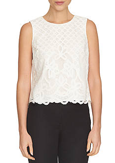 CeCe Sleeveless Lace Blouse