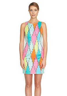 CeCe Diamond Blocks Sheath Dress