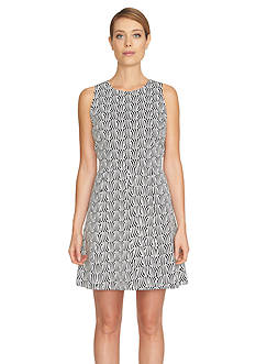CeCe Printed Fit And Flare Dress