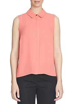 CeCe Crepe Collared Blouse