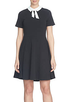 CeCe Jacquard Tie-Neck Collared Dress