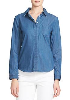 CeCe Long Sleeve Denim Shirt