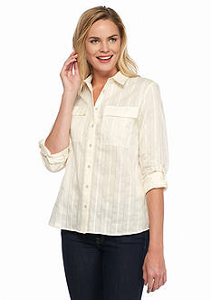 Nine West Jeans Bree Oversized Roll Tab Shirt