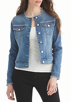 Nine West Jeans Arya Embellished Denim Jacket