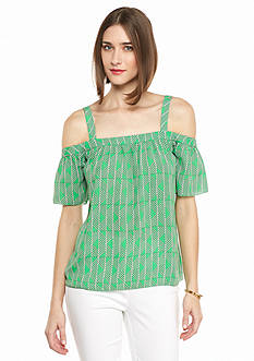 Kaari Blue™ Printed Cold Shoulder Top