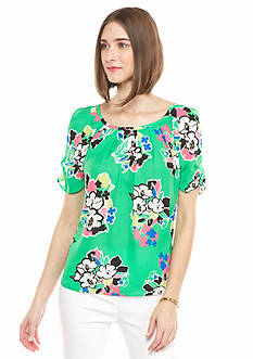 Kaari Blue™ Floral Print Bow Back Blouse