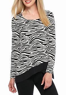 Kaari Blue™ Zebra Print Crossover Hem Top