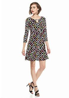 Kaari Blue™ Three-Quarter Sleeve Printed Dress