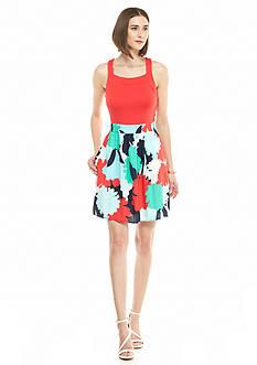 Kaari Blue™ Mix Media Fit-and-Flare Dress