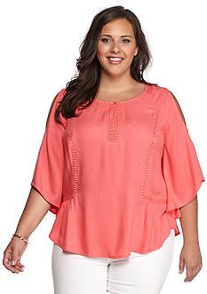 Kaari Blue™ Plus Size Crochet Inset Top