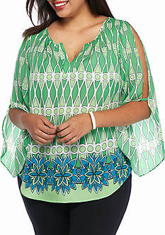 Kaari Blue™ Plus Size Printed Cold Shoulder Top