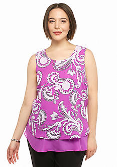 Kaari Blue™ Plus Size Printed Overlay Top