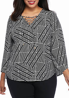 Kaari Blue™ Plus Size Lace-Up Printed Top