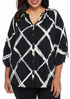 Kaari Blue™ Plus Size Lattice Print Top
