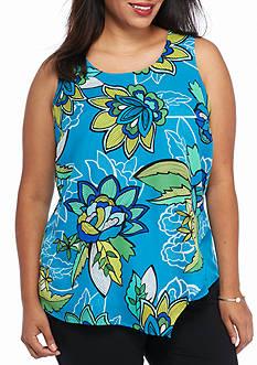 Kaari Blue™ Plus Size Asymmetrical Floral Tank