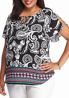 Kaari Blue™ Plus Size Printed Split Sleeve Top