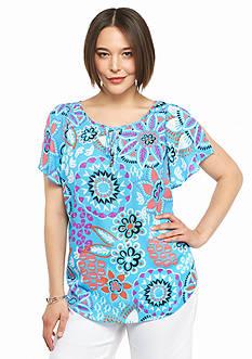 Kaari Blue™ Plus Size Split Sleeve Printed Top