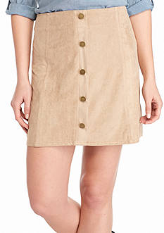 Romeo & Juliet Couture Button Front Faux Suede Skirt