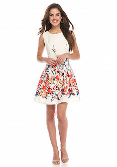 Romeo & Juliet Couture Floral Fit and Flare Dress