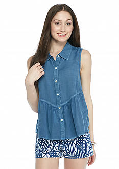 Red Camel Sleeveless Chambray Ruffle Trim Shirt