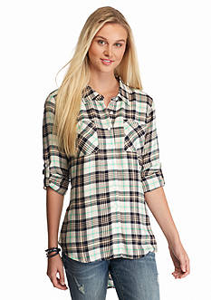 Red Camel High Low Tunic Gingham Shirt