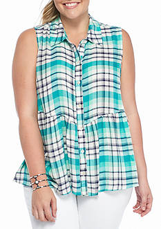 Red Camel Plus Size Plaid Peplum Top