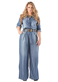 Standards and Practices Kira Wide Leg Tencel Denim Jumpsuit