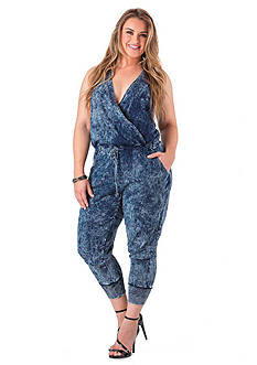 Standards and Practices Plus Size Indigo Jersey Wrap Front Jumpsuit