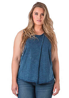 Standards and Practices Plus Size Indigo Jersey Stripe Hem Tank