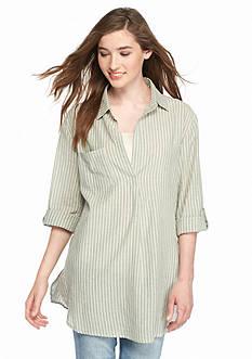 En Creme Collared Stripe Tunic