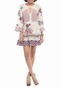 En Crème High V Neck Lace Floral Peasant Dress