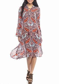 En Crème Lace Up High Low Midi Dress