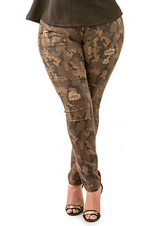 Poetic Justice Scarlett Mid Rise Camo Skinny Jeans