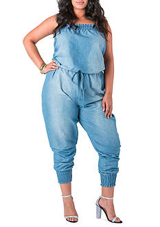 Poetic Justice Kimi Drawstring Chambray Long Jumpsuit