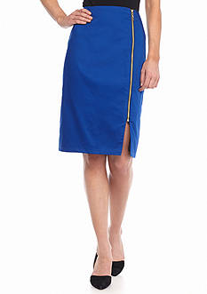 ENNYLUAP Zip Front Pencil Skirt