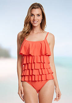 Karen Kane Poppy D Solid Tiered One-Piece